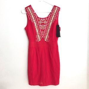 NWT C.Luce Red Sleeveless Casual Dress